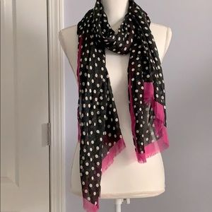 Black & White Polka Dot Scarf with Pink Trim